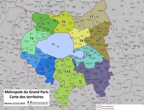 Métropole du Grand Paris - Carte des territoires